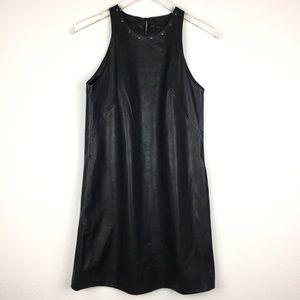 Zara Faux leather studded collar sleeveless dress